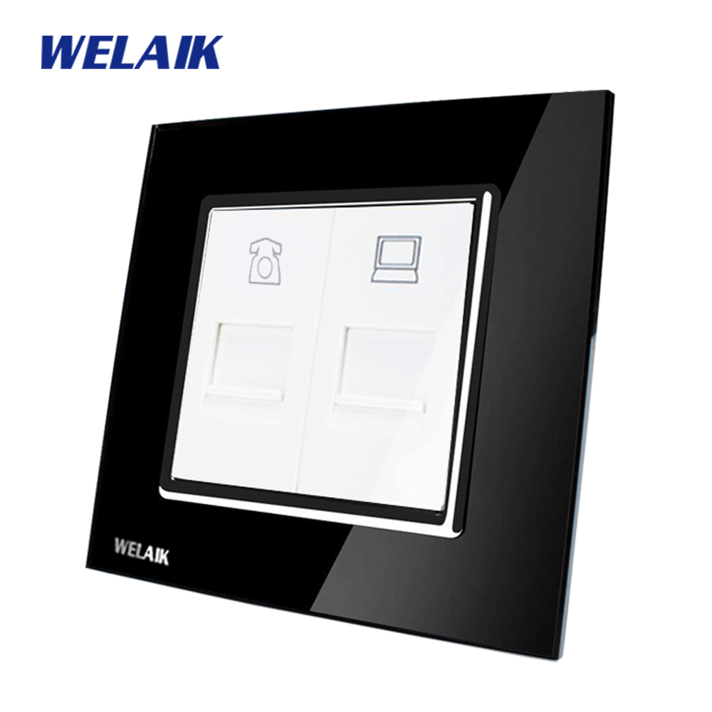WELAIK  Free shiping Crystal Glass Panel 1Frame EU Black  Wall Socket Telephone Computer socket A18TPCOB free shipping car refitting dvd frame dvd panel dash kit fascia radio frame audio frame for 2012 kia k3 2din chinese ca1016
