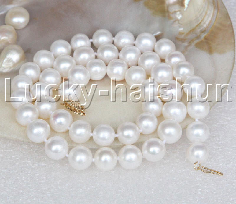 AA+ natural 18 10mm round white string pearls necklace AA+ natural 18 10mm round white string pearls necklace