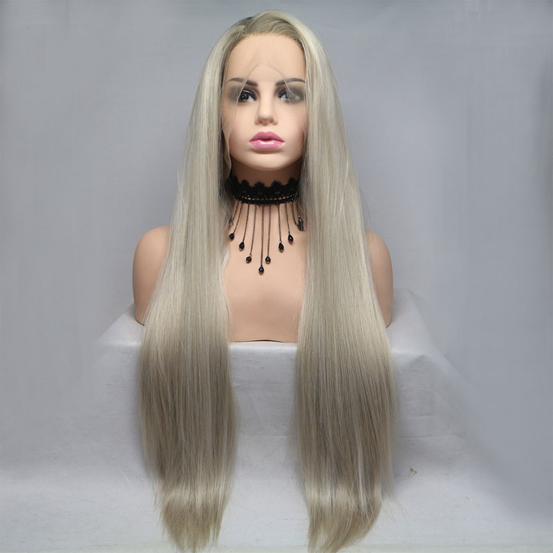 Bombshell Dark Roots Ombre Platinum Straight Synthetic Lace Front Wig Glueless Heat Resistant Fiber Natural Hairline