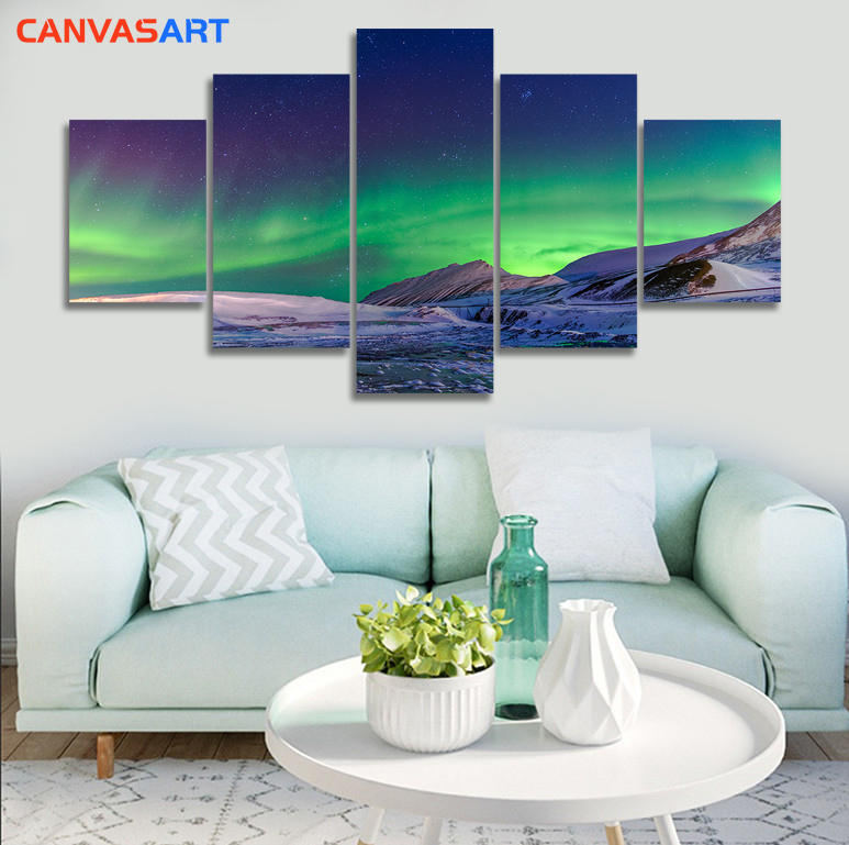 Canvas Art 5 Piece HD Pictures Natural Scenery Ice and Snow Aurora Borealis Wall Pictures for Living Room Canvas Painting(China)