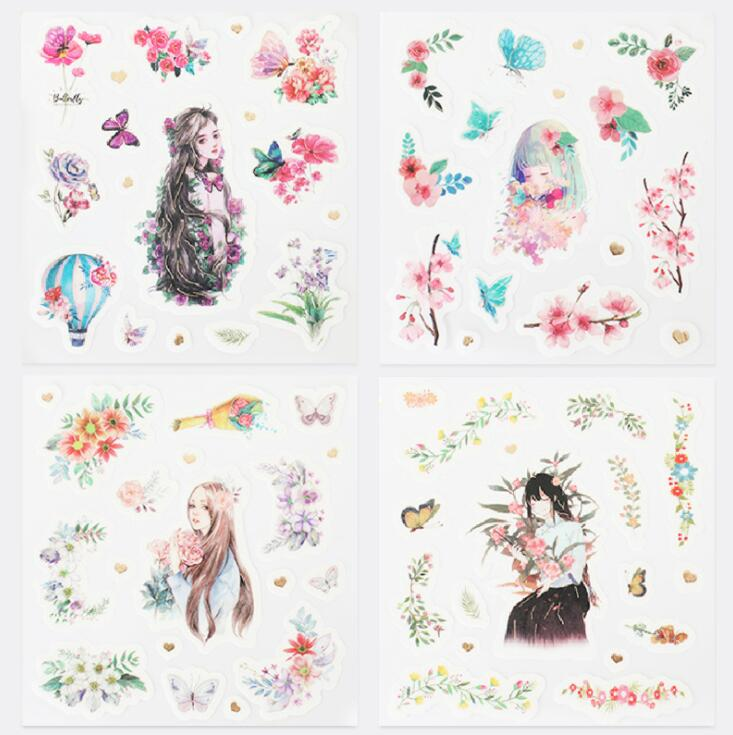 4 pcs/pack Flowers And Girl Decorative Stationery Stickers Scrapbooking DIY Diary Album Stick Label4 pcs/pack Flowers And Girl Decorative Stationery Stickers Scrapbooking DIY Diary Album Stick Label