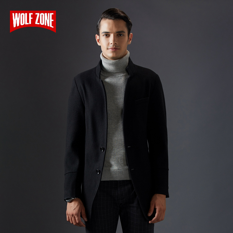 Men Coat Jacket Business Wool Long-Sections Winter Casual Fashion New Windbreak Pure-Color