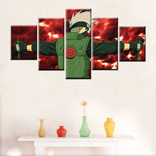 5 panel Naruto Kakashi geanimeerde poster wall art foto modulaire decoratieve muur foto woonkamer Nordic stijl frame(China)