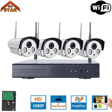 Беспроводной CCTV Камера Системы 1080 P 4CH NVR Kit Stardot 2MP ИК Открытый P2P Wi-Fi IP камера видеонаблюдения Камера Системы комплект видеонаблюдения