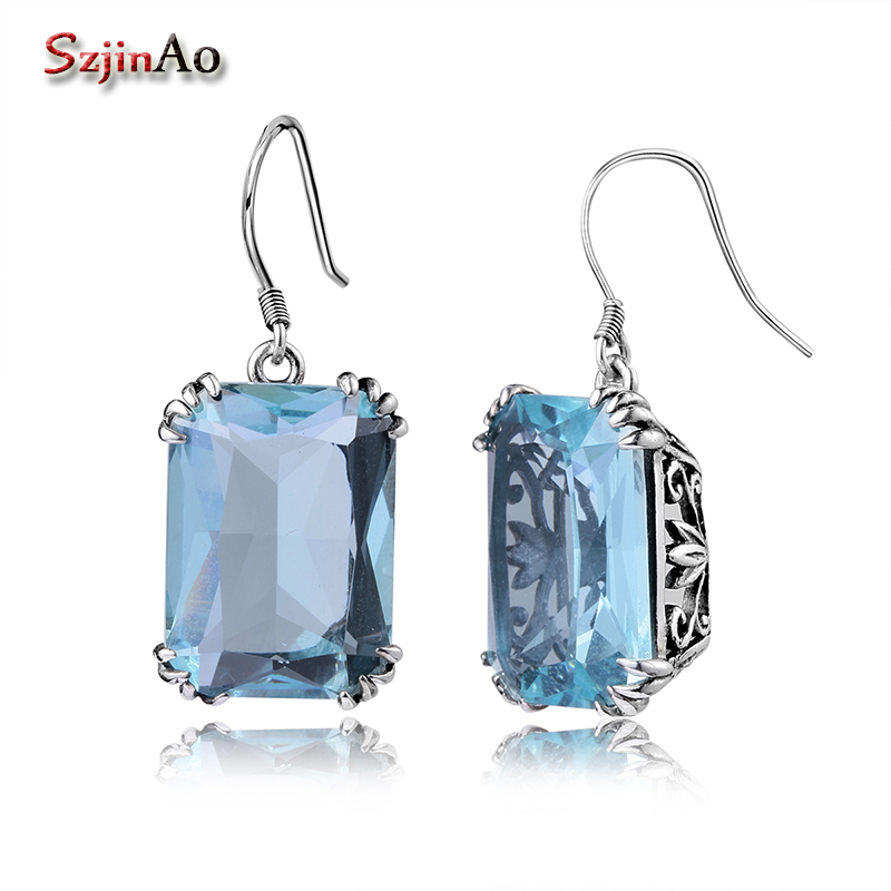 Szjinao Crown Noble Square Big Aquamarine earrings for women Pirate Ship Vintage 925 Sterling Silver Drop Fine Jewelry