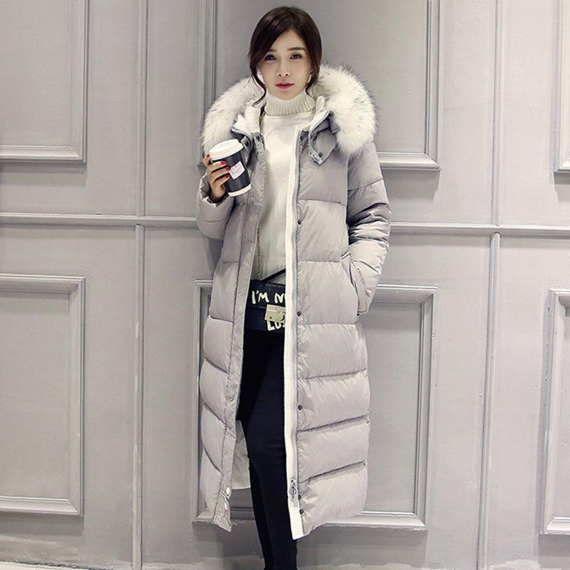 2019 парки базовые зимние пуховые куртки женские Дамские размера плюс длинные пуховые пальто с капюшоном Повседневная ветрозащитная теплая верхняя одежда