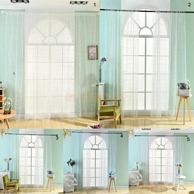 fen tre dressing marguerite fleurs imprimer sheer voile rideau pour salon chambre balcon patio. Black Bedroom Furniture Sets. Home Design Ideas