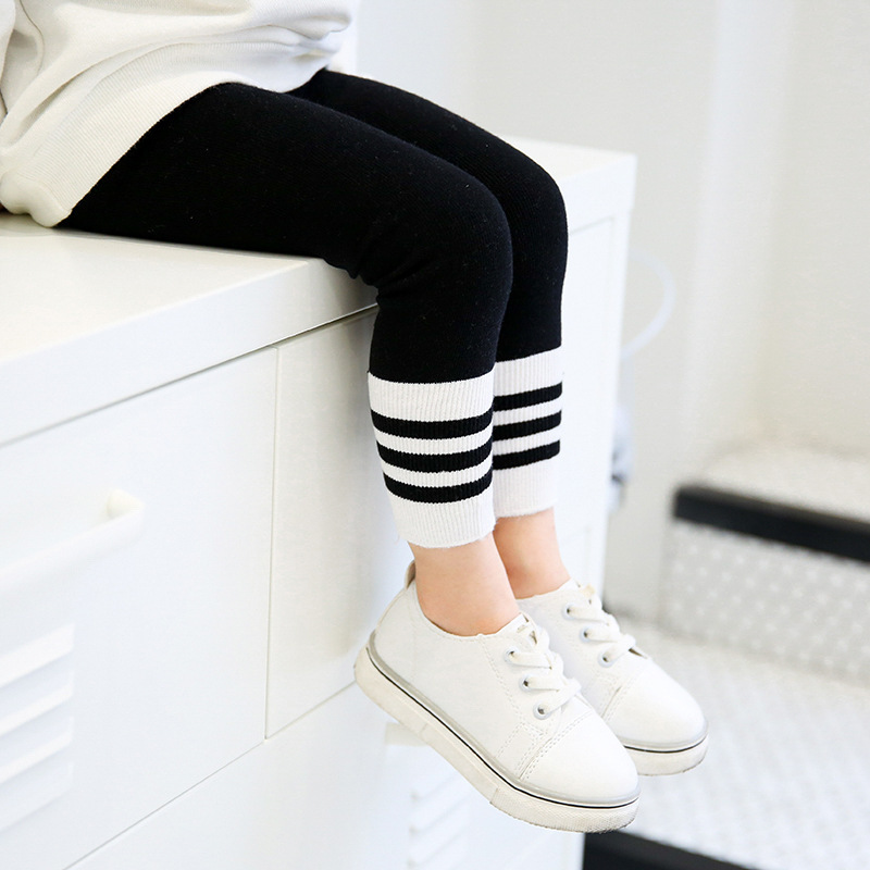pure cotton girls Leggings with white stripes  soft and warm Children's clothes great  Leggings For Girls Age 3 To 8 Years Old