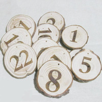 1-100 Natural Wooden Circular Table Number Card Wooden Ring holder Vintage Rustic Wedding Table Numbers Wedding deration
