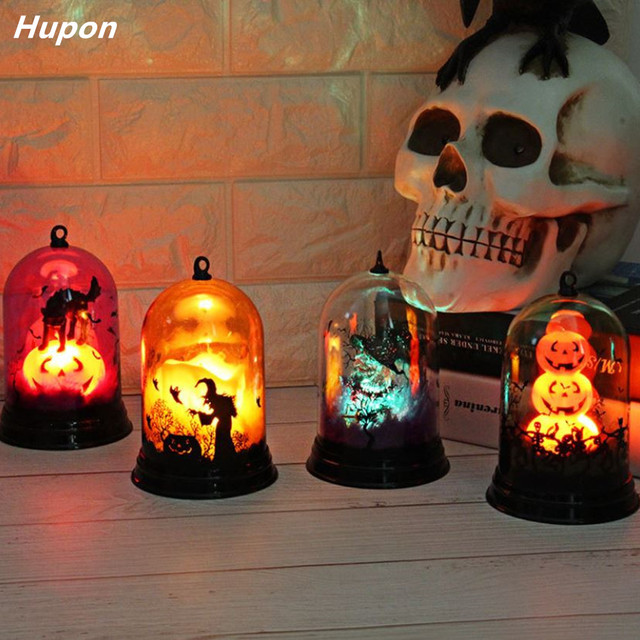 Festival Led Lights for Halloween Decorations Pumpkin Ghost Bat in a Glass Dome for Home DIY Hanging Led Party Supplies 4 Styles