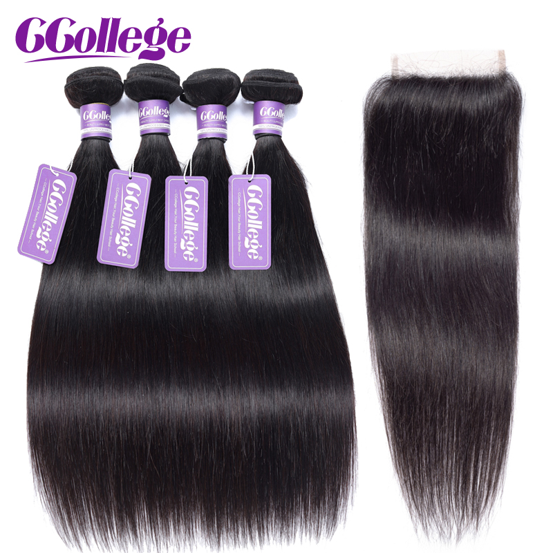 CCollege Peruvian Straight Hair Extension Weave 3 Bundles With Closure Remy Human Hair Bundles With Closure