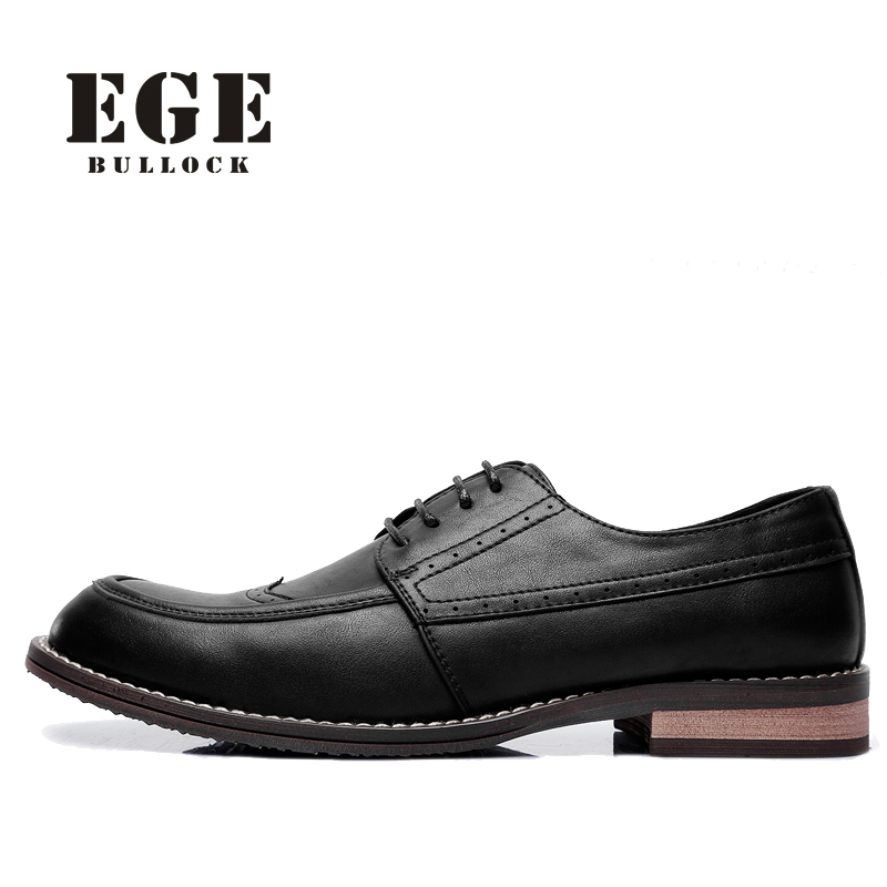 EGE Men Oxfords Lace-up Genuine Leather Fashion British Male Flats Handmade Bullock Style High Quality Black Dress Shoes for Men oxfords male round toe lace up men black and white dress shoes big size flats british style brogue wingtip fashion spring