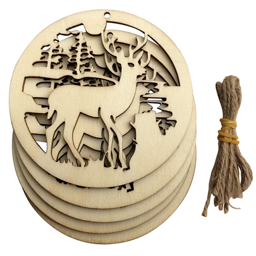 NEW 5pcs/set Hanging Wood Christmas Ornaments with Jute Ribbon Hollow Christmas elk Xmas Gift Wooden Pendants Tree Decorations ...