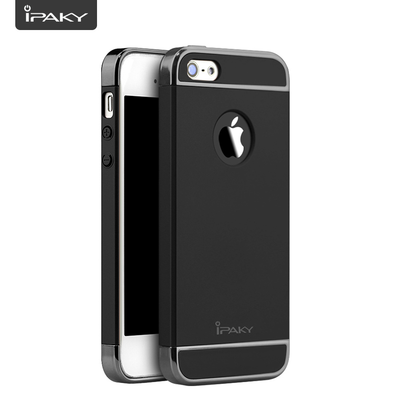 Phone Case For iPhone 5S/SE, IPAKY 3 In 1 Slim Matte PC Hard Cover Electroplate Frames Mobile Hybrid Case For iPhone 5S/SE
