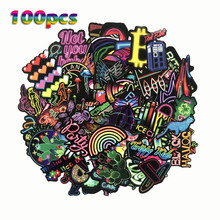 TD ZW 100 Pcs/Lot Neon Lights Anime Doodle Stickers For Car Suitcase Laptop Skateboard Colorful Waterproof Graffiti Sticker(China)