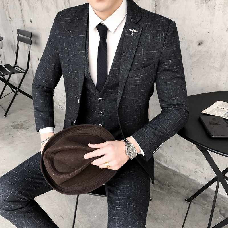 Business Social Wedding Smoking Mariage Homme Stylish Prom Jackets Club Terno Masculino Mens Suit Slim Fit Blue Suits Men Autumn