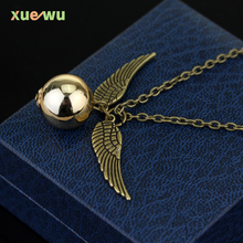 2016 Harry Potter And The Deathly Hallows Necklace Gold Snitch Exquisite Ball Wings Feather Necklaces for women and man(China (Mainland))