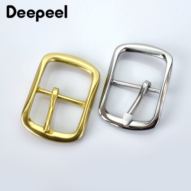 Deepeel 40mm Solid Brass Men's Belt Buckle Stainless Steel Pin Buckle Mens Womens Jeans Accessories DIY Leather Craft Hardware