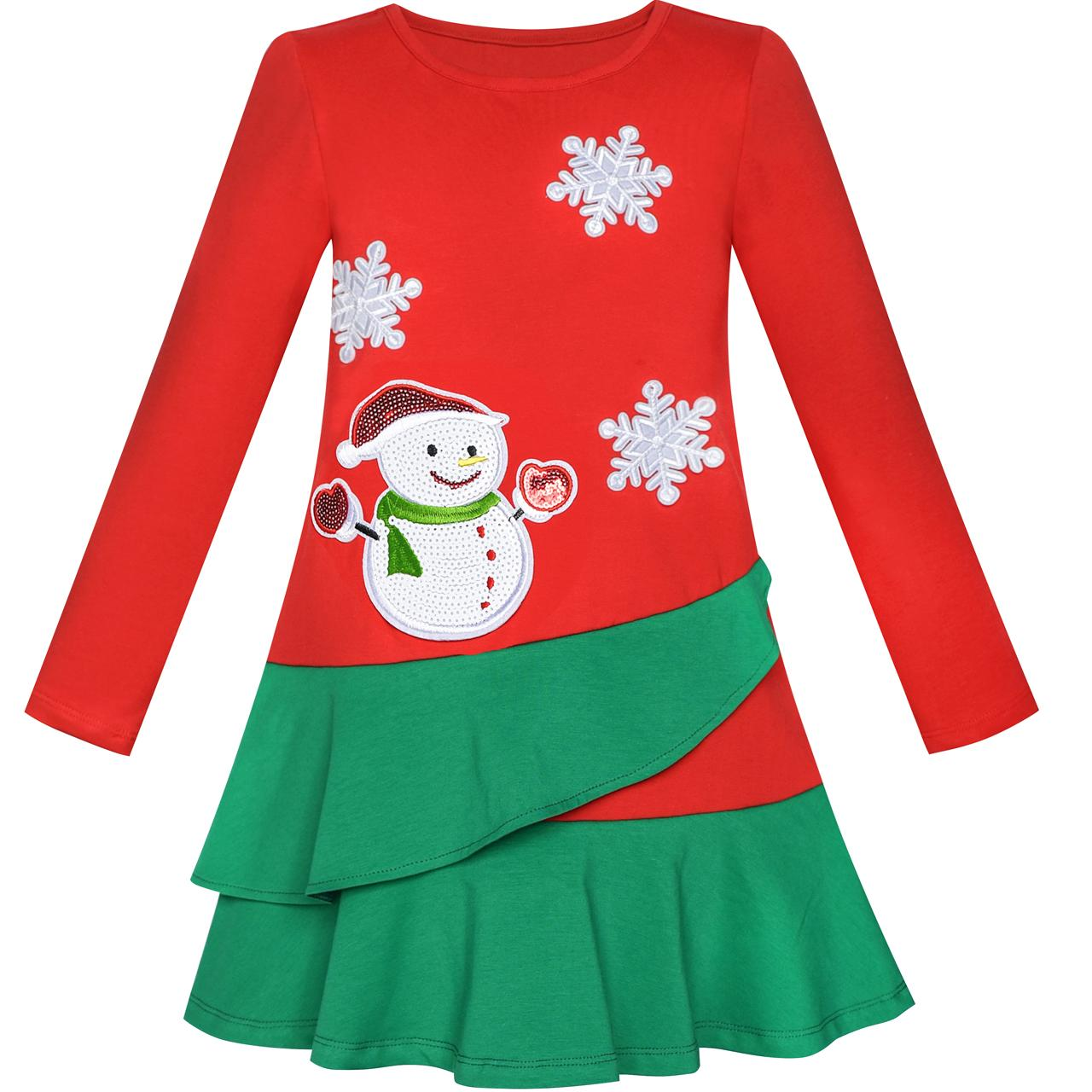 Sunny Fashion Girls Dress Long Sleeve Christmas Snowman Holiday Party Cotton 2018 Summer Princess Wedding Dresses Size 5-12 sunny fashion girls dress princess worsted winter christmas hat lace red 2018 summer wedding party dresses clothes size 4 10