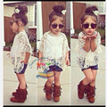 2016 Summer Girls clothing  Set Europe And America style Hollow 3pcs Girls Clothing Sets Girls Clothes Cute Short Sleeve Suit