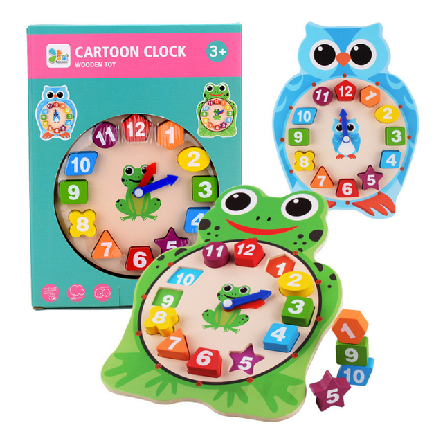Wooden Educational Clock Cognition Pairing Toy Children Clock Building Blocks Baby Montessori Digital Clock Teaching Aid
