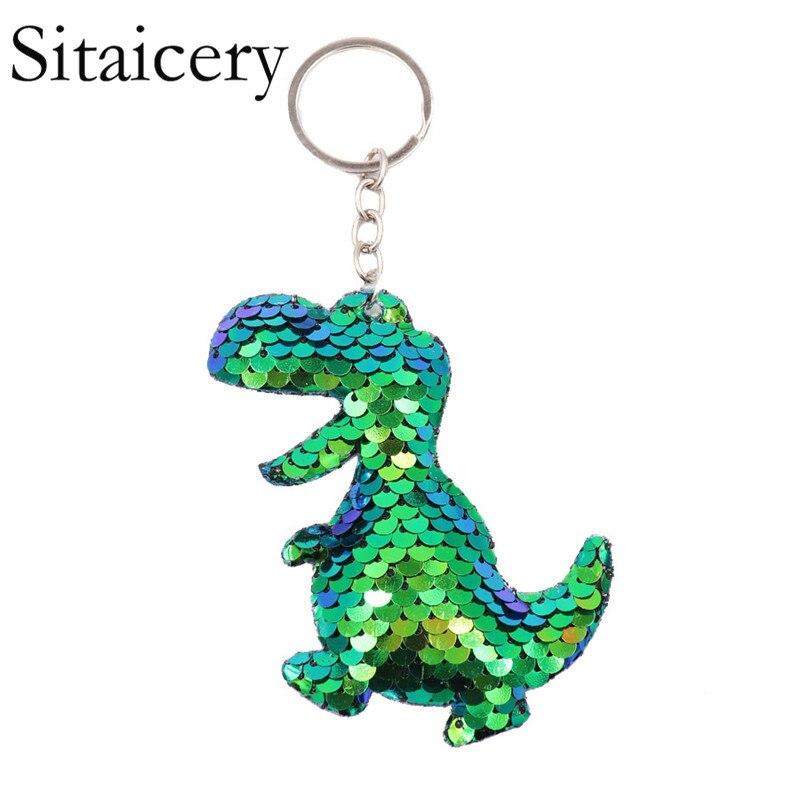 Sitaicery Dinosaur Keychain For Men Women Bag Ornament Sequin Key Chain Porte Clef Keyring Bag Decoration Christmas Gift Trinket
