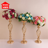 Gold Plated Wrought Iron Candlestick Wedding Props European Retro Ornaments Candlestick Flower Dual use Home Wedding Decoration
