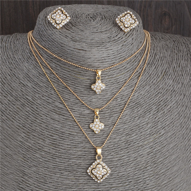 Austrian Crystal Golden Plated Jewerly Sets For Women Cat's Eye Stones Jewelry S
