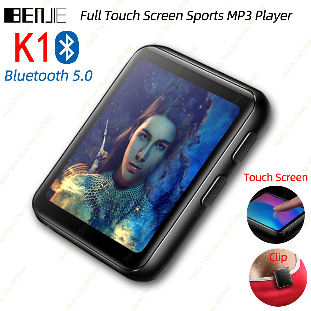 BENJIE K1 Full Touch Screen Bluetooth MP3 Player With FM Radio,Recorder,E-Book Portable Audio 8GB 16GB Mini Clip Music Player image