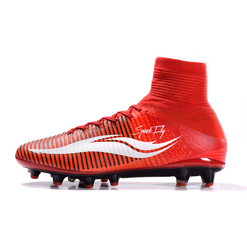 timeless design 078ca e608f Speedfly Football Boots Brand AG Soccer Shoes Bright Crismson White High  Ankle Superfly Original Cleats Outdoor Sneakers-in Soccer Shoes from Sports  ...