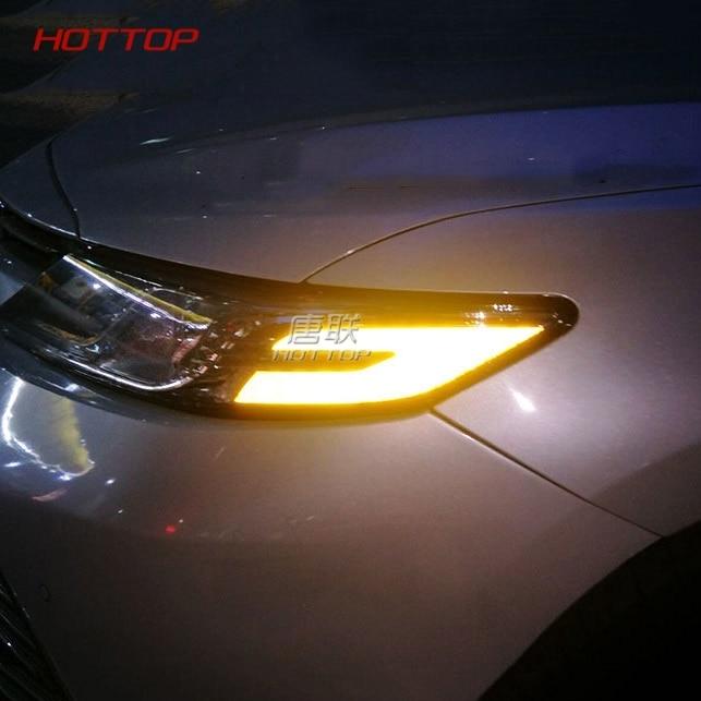 2Pcs/Set Car Headlight Reflective Stickers Personality Anti-collision Warning For Toyota Daihatsu Camry Altis XV70 2018 2019