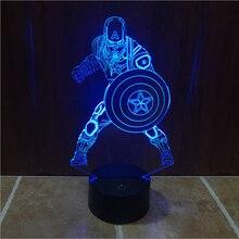 Marvel Civil War Captain America Color Changing Light 3D Illusion Bulbing Lamp Halloween Christmas Kids Gift GX359