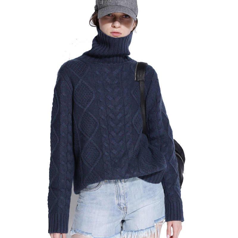 Портной Овцы свитер с высоким воротом для женщин зимние кашемировые Джемперы шерсть вязаный низ женский длинный рукав толстый твист Свободный пуловер