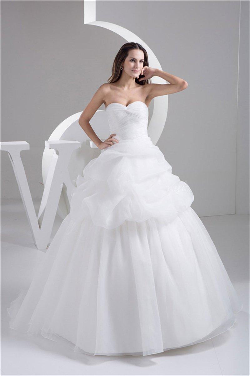 2015 Simple Design White Organza Wedding Dress Ball Gown
