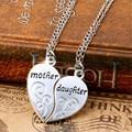 Moda 2 Pcs de Prata Banhado A Mãe Mãe Filha Colar Do Amor Do Coração de Prata Colares & Pingentes Para As Mulheres Jóias collier femme.