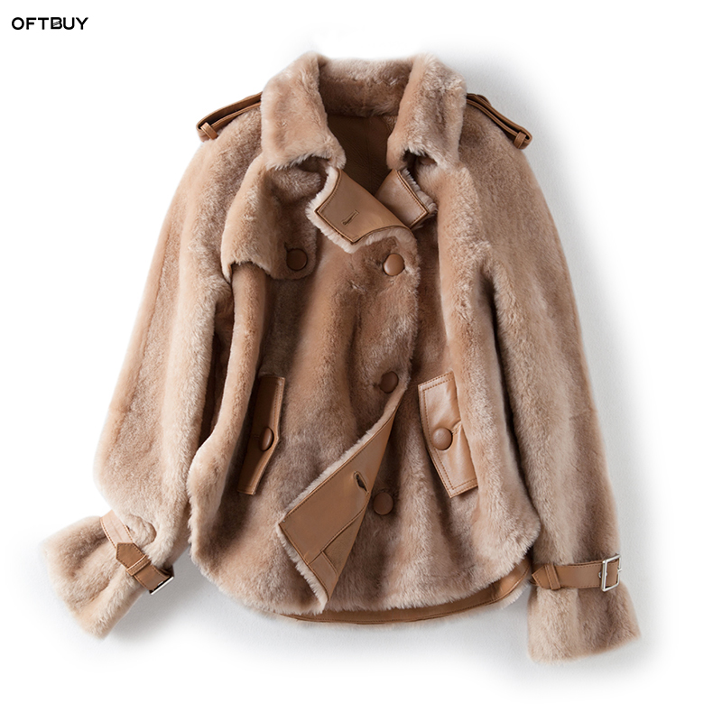 OFTBUY 2019 real fur coat winter jacket women Merino Sheep Fur real Genuine Leather jacket liner Thick Warm natural Fur parka