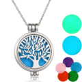 Aromatherapy Necklace Silver Plated with Tree of Life Pattern Locket Pendant Oils Essential Diffuser Necklace & 7 Felt Pads