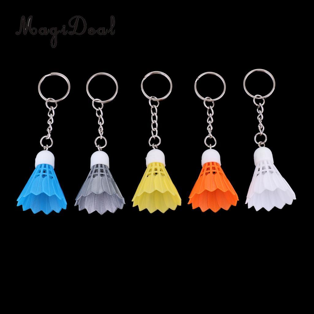 Magideal 5 pces badminton chaveiro/peteca chaveiro/saco pingente-5 cores