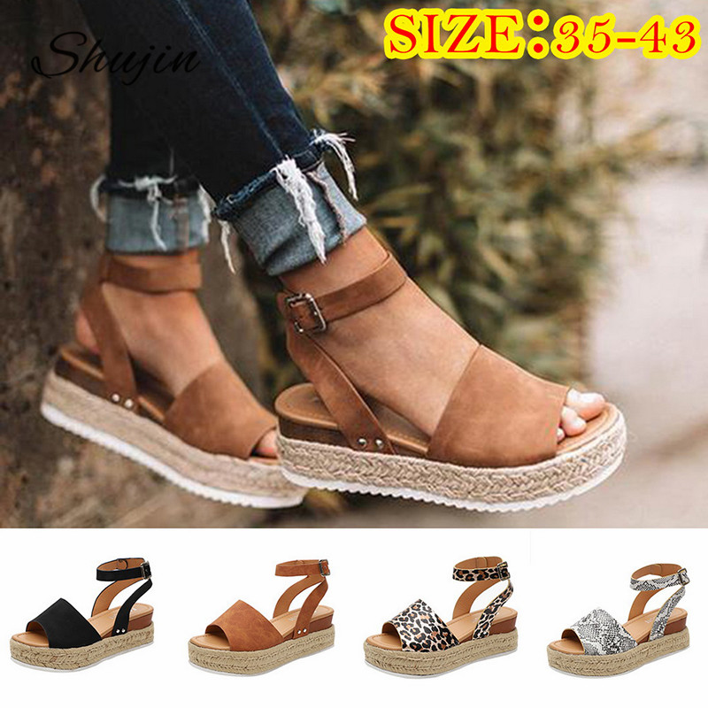 SHUJIN Wedges Shoes Platform Sandals High-Heels Plus-Size Summer New-Fashion Flop Femme title=