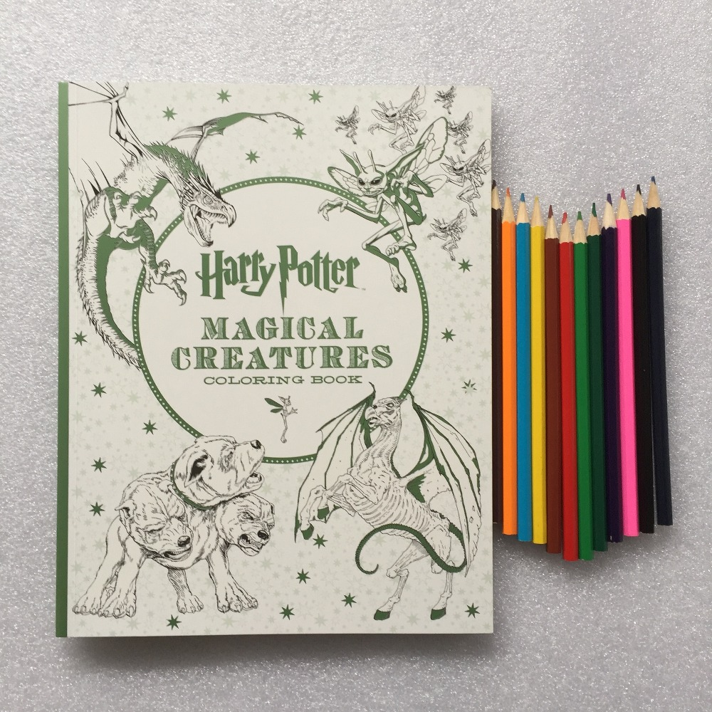 12 Color Pencils +Magical Creatures Coloring Book  Secret Garden Style Adult Stress Relieve Drawing Book 12 color pencils the colorful secret garden style coloring book for children adult relieve stress graffiti painting drawing book