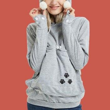 Pet Pouch Hoodie Paw Print Kangaroo Pocket Hoodie Drawstring Poleron Mujer 2019 Plain Hooded Sweatshirts With Ears Women Warm цена 2017