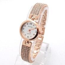 High Quality Rose Gold Bracelet Watch Women Ladies Fashion Crystal Dress Quartz Wristwatches Female Clock GO099
