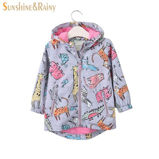 4aceb8cf9492 Sunshine   Rainy Girls Jackets Cartoon Printed Baby Girl Windbreaker ...