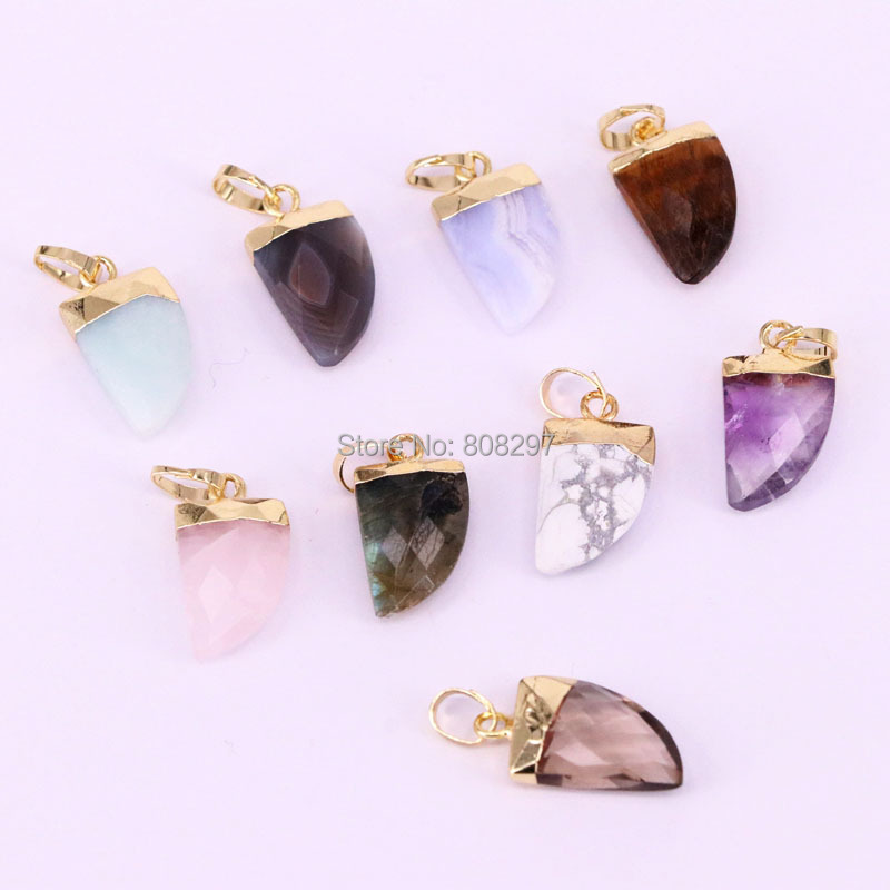 New 10Pcs Natural Stone Pendant Horn Shape Charms Pendants For Jewelry Making Necklace