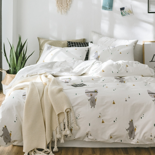 100 Cotton White Duvet Cover Set Twin Queen King Bedding Sets For S Cute Animal
