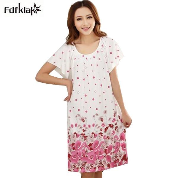 2018 Free Shipping Woman Spring Summer Dress Cotton Nightgown Girl's Soft Sleepshirts Female Sleepwear Plus size Nightgowns XXL
