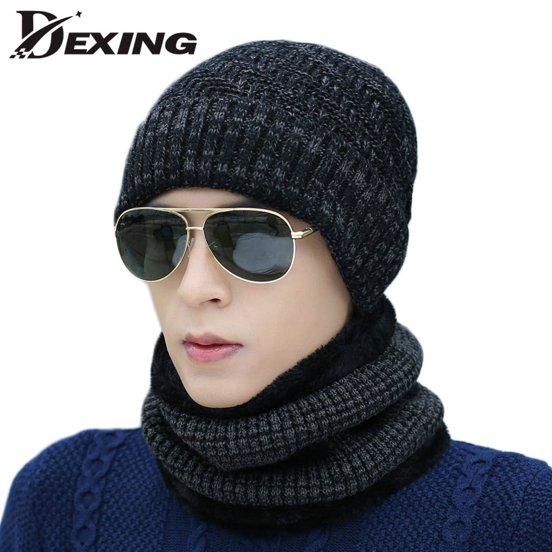 Winter Beanie Women male Solid Fur Wool Lining Thick Warm Knit BOYS Hat Outdoor ski Cap Scarf Sets Skullies men Bonnet autumn winter male hat plus velvet thick knitted wool hat scarf set men warm beanie fashion snow earflaps plush collar cap sets