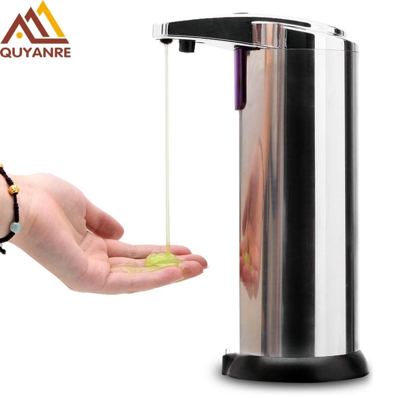 Freies Verschiffen 220 ml Automatische Seifenspender Edelstahl Eingebaute infrarot-licht Sensor Infrarothandfree Sanitizer Seifenspender