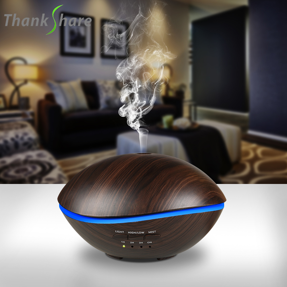 THANKSHARE 500ML Air Ultrasonic Humidifier LED Lamp Essential Oil Diffuser Atomizer Air Freshener Mist Maker For Home Office цена