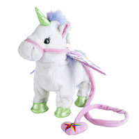 Ins Unicorn Lead The Rope To Fly Male Horse Staggering Bob Walk Sing Motor driven Horse Hair Toys Children Gift